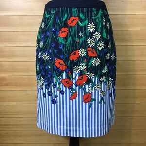 Anthropologie Postmark Floral Print Pencil Skirt